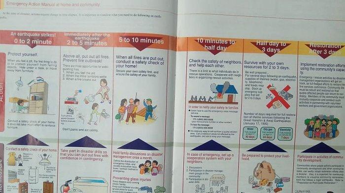 Petunjuk cara menyelamatkan diri dari bencana alam di Jepang. Booklet dalam Bahasa Inggris ini dibagikan bagi warga asing yang berkunjung ke Jepang