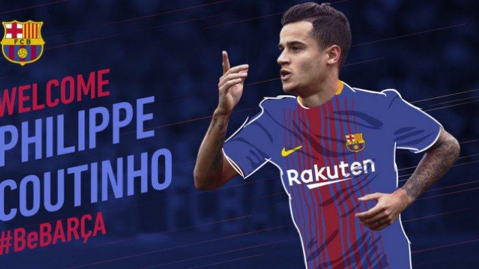 Grafis yang dibuat FC Barcelona untuk menyambut bergabungnya Philippe Coutinho.