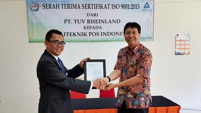 Politeknik Pos Indonesia Dapat Sertifikat ISO 9001:2015 dari Tuvrheinland