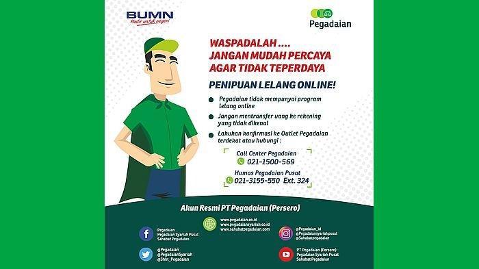 Poster imbauan dari PT Pegadaian (Persero).