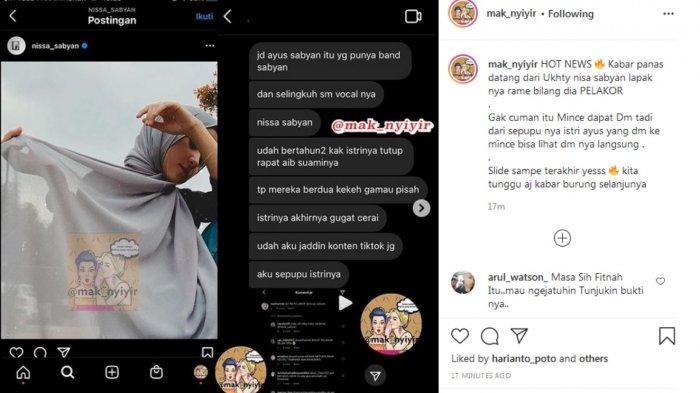 postingan akun gosip Nissa Sabyan dituding jadi pelakor