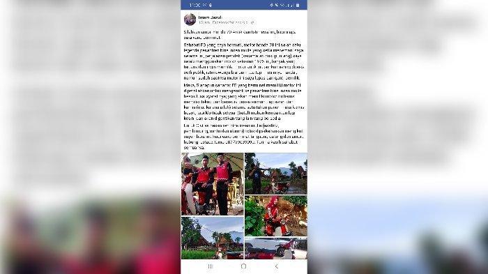Tangkapan layar postingan akun Facebook Pengasuh Pondok Pesantren Bina Insan Mulia, KH Imam Jazuli, yang hendak menjual motor Honda 70 miliknya. Yang berminat cukup membayar dengan puasa Senin Kamis selama satu tahun.