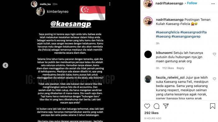 postingan teman kuliah Felicia Tissue ungkap kecewa dengan perilaku Kaesang Pangarep