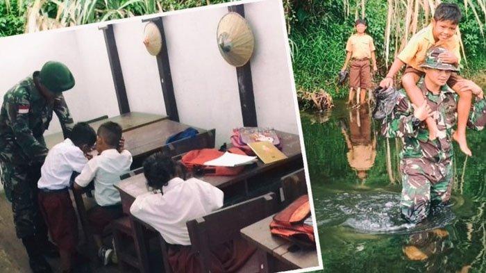 Kisah Praka Nanang, Anggota TNI Ikhlas Ngajar dan Sebrangkan Anak-anak Meski Arus Sungai Besar
