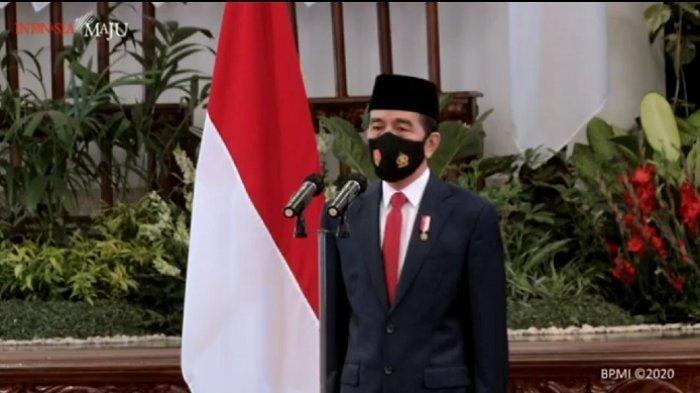 Presiden Joko Widodo (Jokowi) menghadiri upacara peringatan HUT ke-70 TNI dari Istana Negara, Jakarta, Senin (5/10/2020).
