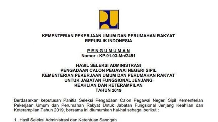 Pengumuman Hasil Seleksi Administrasi CPNS 2019 Kementerian PUPR, Cek Nama Anda di Sini!