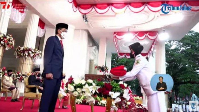 Ibu Qyara Tak Henti Menangis & Berdoa, Saat Paskibraka Asal Garut Itu Bawa Bendera di Depan Presiden