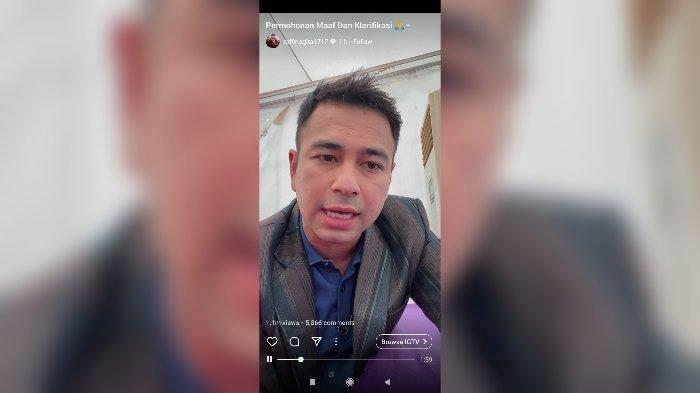 Raffi Ahmad saat meminta maaf di IGTV, Kamis (14/1/2021).