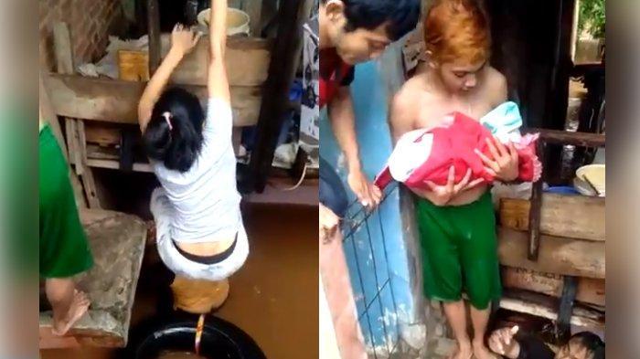 Patut Dicontoh, Saat Warga Bahu-membahu, Berjibaku Selamatkan Bayi dan Ibu Terjebak Banjir Jakarta
