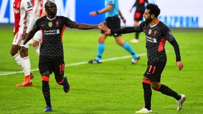 Sadio Mane dan Mohamed Salah, dua pemain kunci Liverpool saat membawa Liverpool menang atas tuan rumah Ajax Amsterdam di matchday 1 Liga Champions dengan skor tipis 0-1, Kamis (22/10/2020).
