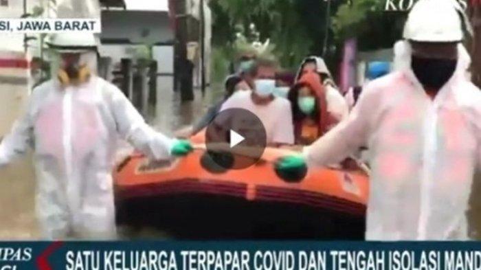 Satu Keluarga Positif Covid-19 dan Isolasi Mandiri, Rumahnya Kebanjiran, Petugas Pakai APD Evakuasi