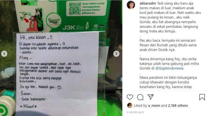 Seorang warganet dan juga selebgram asal Bandung, Adam Akbar. Membagikan pesan menyentuh dari seorang anak kepada ayahnya yang bekerja sebagai mitra pengemudi Gojek.
