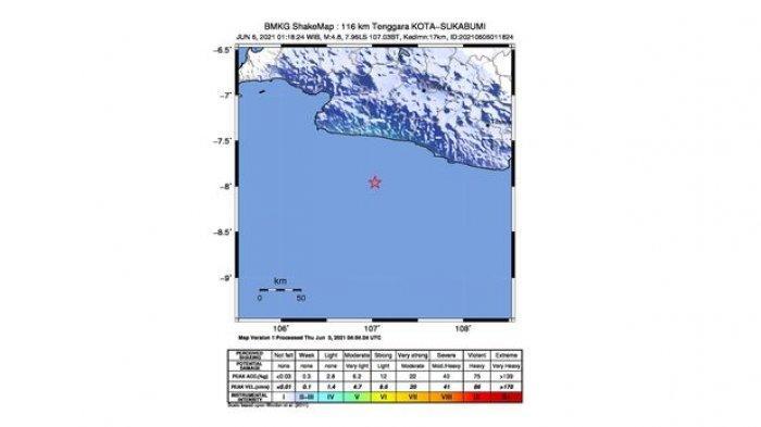 Shake map gempa bumi magnitudo 4.8 di tenggara Kota Sukabumi pada Minggu (6/6/2021) pukul 01.18 WIB.
