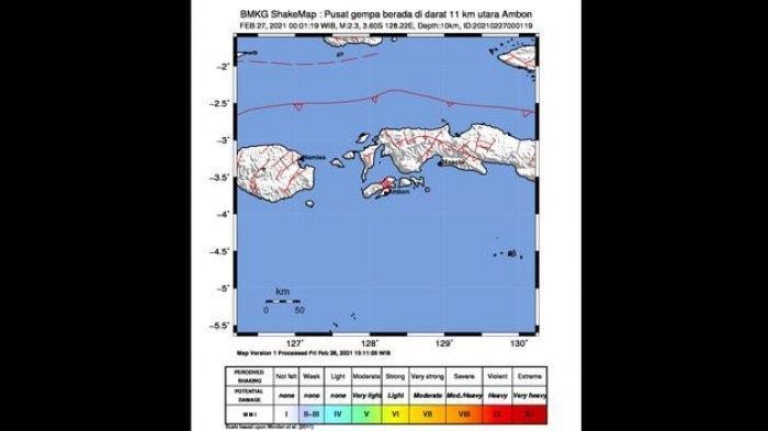 Shakemap gempa Ambon yang terjadi pada Sabtu (27/2/2021) dini hari.