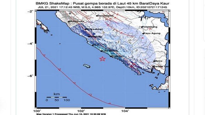 Baru Saja Gempa Bumi Mengguncang Bengkulu, Terasa Sampai Lampung Barat, Ada yang Rasakan IV MMI