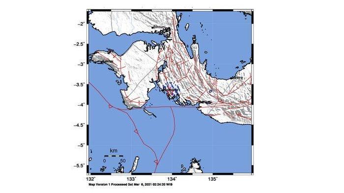 Gempa Terkini di Indonesia, Sore Tadi Mengguncang Kaimana Papua, Magnitudo 5,3 Berpusat di Laut