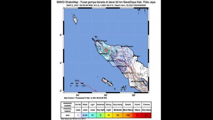 Gempa Bumi Terjadi Di Aceh Pagi Ini Berkekuatan 4 9 Magnitudo Ini Wilayah Yang Rasakan Getaran Tribun Jabar