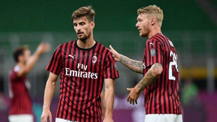 Dua bek AC Milan, Simon Kjaer dan Matteo Gabbia