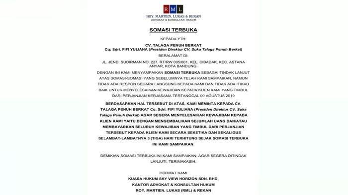 Somasi terbuka Skyview Horizon kepada Presiden Direktur CV Suka Talaga Penuh Berkat.