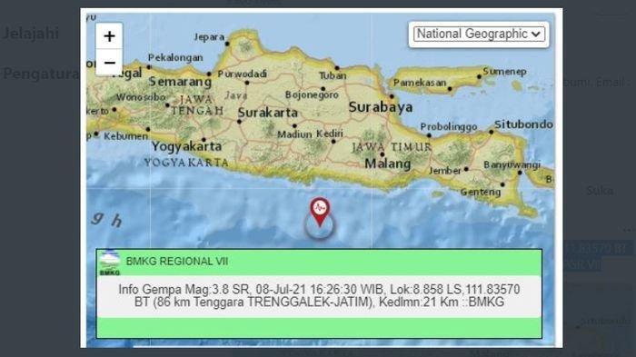 Sore ini, gempa bumi melanda Trenggalek, Jawa Timur, Kamis (8/7/2021).