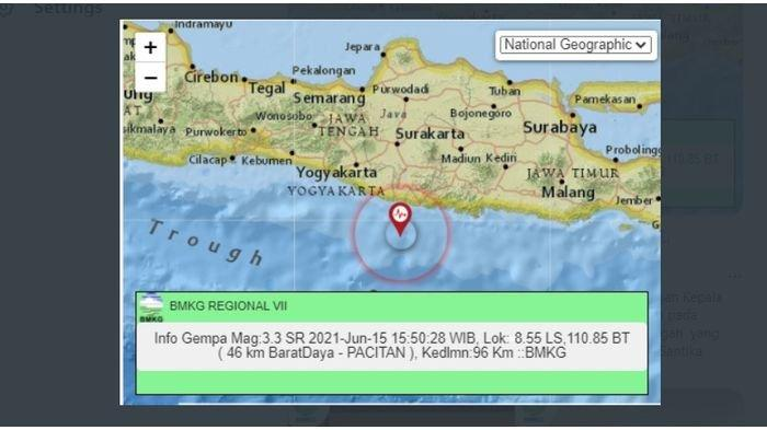 Sore ini gempa bumi menggoyang Pacitan, Jawa Timur, Selasa (15/6/2021).