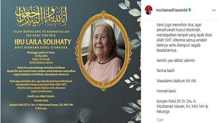 Sosok Laila Solihaty, Ibunda Ketum PSSI Mochamad Iriawan Meninggal Dunia, Dimakamkan di Bandung