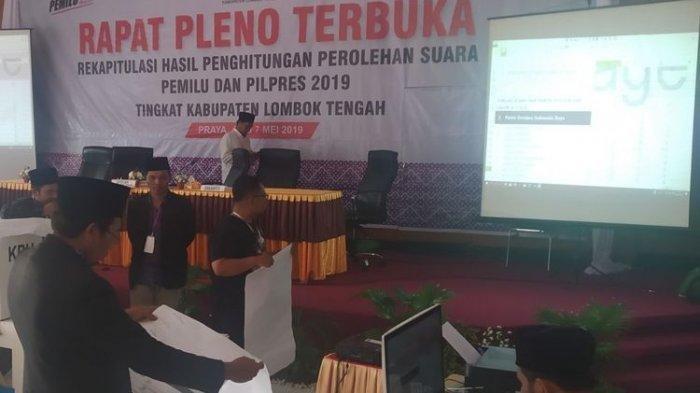 Adu Jotos Warnai Sidang Pleno Rekapitulasi Penghitungan Suara KPU Lombok Tengah