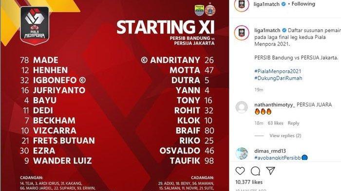 Susunan pemain Persib Bandung vs Persija Jakarta di leg kedua final Piala Menpora, Minggu (25/4/2021).