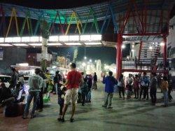 Keramaian di area terbuka di Kota Kuningan, Sabtu (13/2/2021) malam.