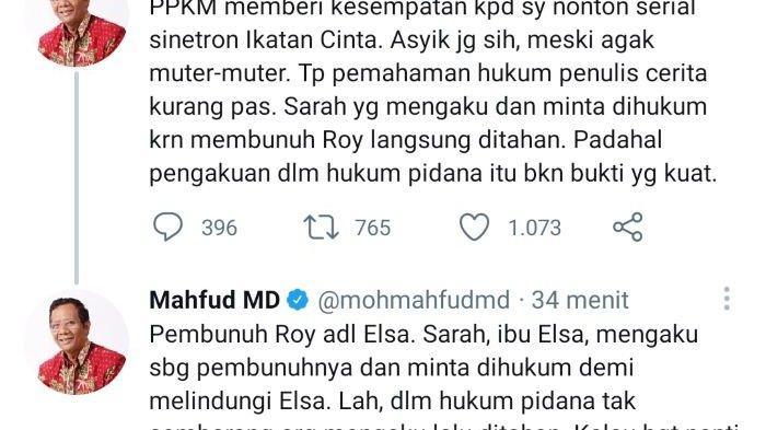 Kritik Proses Hukum di Jalan Cerita Sinetron Ikatan Cinta, Mahfud MD diserang Pengguna Twitter