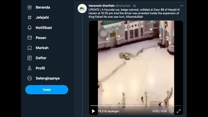 VIDEO DETIK-DETIK Mobil Berkecepatan Tinggi Tabrak Gerbang Masjidil Haram, Juga Hantam Pembatas