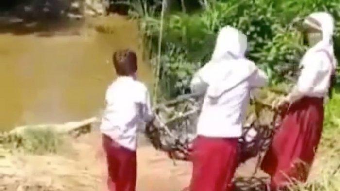 TERNYATA Ini Fakta Kejadian Dibalik Video Viral Tiga Bocah SD Bergelantungan Menyeberangi Sungai