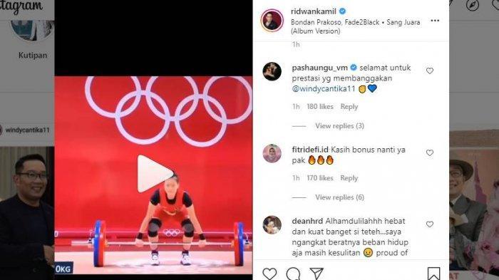 Ridwan Kamil turut mengunggah postingan video mengenai Windy Cantika di akun Instagram-nya.