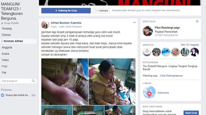 unggahan penganiayaan kepala sekolah SMP 4 Lolak
