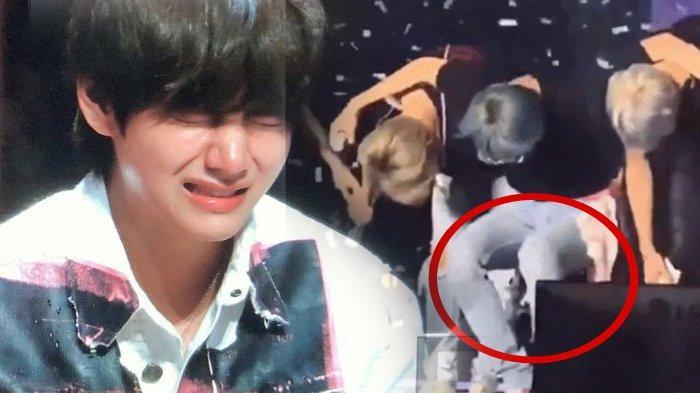 Gawat, V BTS Nyaris Jatuh Saat Konser Karena Sakit, Jin Sangga Badannya, RM BTS Bantu Pegangi Lutut