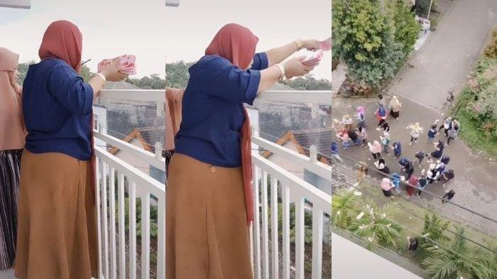 VIRAL Video Perempuan Bagi-bagi Uang Rp 100 Juta untuk Karyawan, Disawer dari Balkon