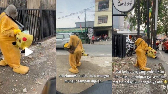Video Pilu Kakek Berkostum Badut Kesusahan Berjalan Tetap Mencari Nafkah, Warganet Banjir Air Mata