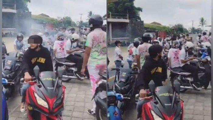 Video Viral Pelajar Berkerumun Rayakan Kelulusan, Asyik Mainkan Gas Motor, Netizen: Selamat Nganggur