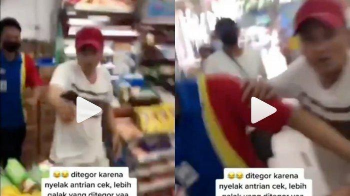Video viral pria ngamuk di minimarket tak terima ditegur menyela antrean