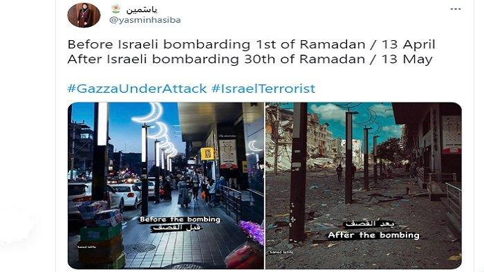 Viral foto perbandingan sebelum dan sesudah Israel mengebom Gaza