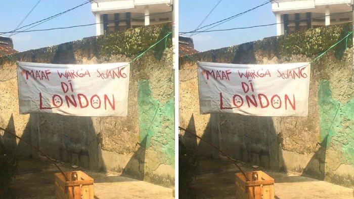 Viral Spanduk 'Warga Sedang di London', padahal Harusnya Tulisannya 'Lockdown', Netizen pun Terhibur