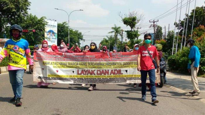 Warga Citaman Karawang Demo Tuntut Lahan Dibayar Harga Pasar oleh PPK Tol Jatiasih-Sadang