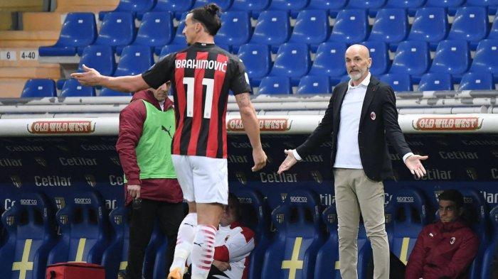 Zlatan Ibrahimovic setelah dikartu merah Fabio Maresca di laga Parma vs AC Milan.