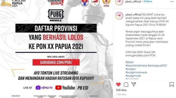 16 Provinsi yang Lolos ke PON XX Papua 2021 Cabor Eksebisi Esports PUBG Mobile, Simak Jadwalnya