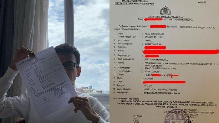 Adam Deni resmi melaporkan musisi Jerinx SID ke Polda Metro Jaya.
