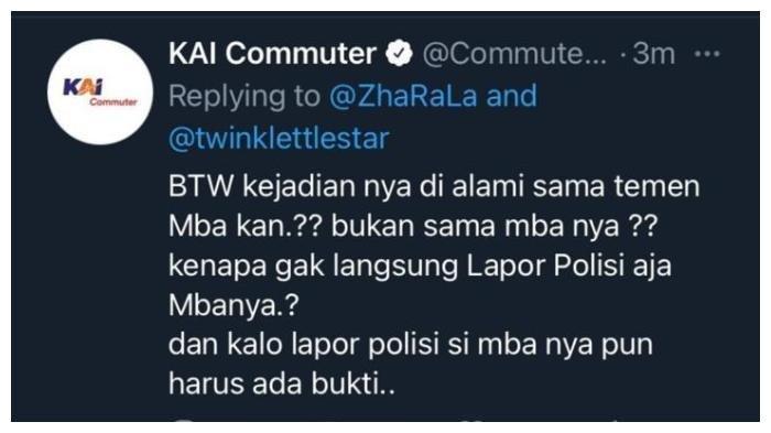 Salah satu agent atau admin akun Twitter resmi KAI Commuter, @commuterline, dinilai tidak sopan dalam menanggapi aduan warganet perihal pelecehan seksual. KAI Commuter lantas mencabut akses pegawai tersebut dan memberinya sanksi.