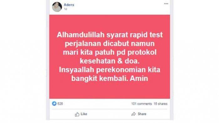 Akun Facebook yang membagikan informasi bahwa rapid test perjalanan dicabut. Kemenkes meluruskan informasi ini. Rapid test masih berlaku. (ISTIMEWA Facebook via Kompas.com)