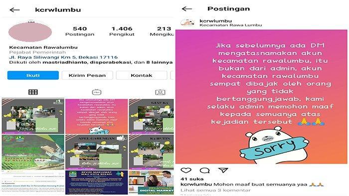 Akun Instagram Kecamatan Rawalumbu Diretas, Foto Profil Diubah Jadi Gambar Tak Senonoh
