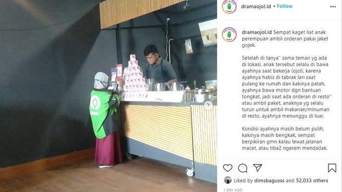 Kisah Driver Ojol Terpaksa Ajak Putrinya Bekerja, Foto Pakai Jaket Ojol Saat Ambil Pesanan Viral