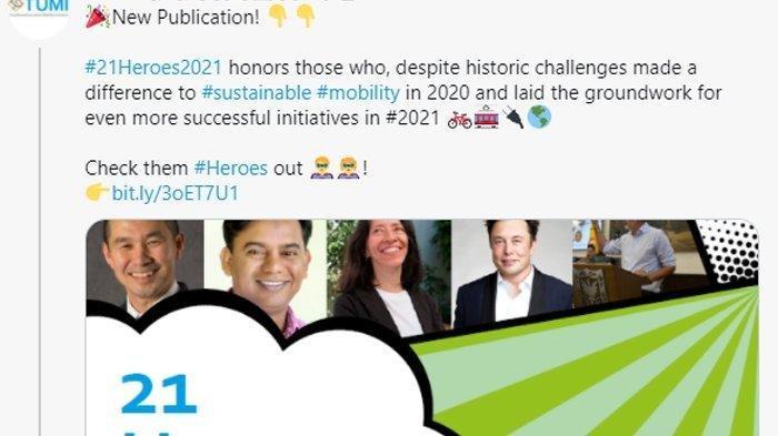 Keren, Gubernur DKI Anies Baswedan Masuk 21 Pahlawan Transportasi Versi TUMI: Ada Nama Elon Musk